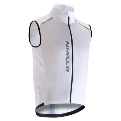 B'twin 500 Ultralight Windproof Cycling Gilet White - Clearance in Large sizes (FREE Click & Collect only)