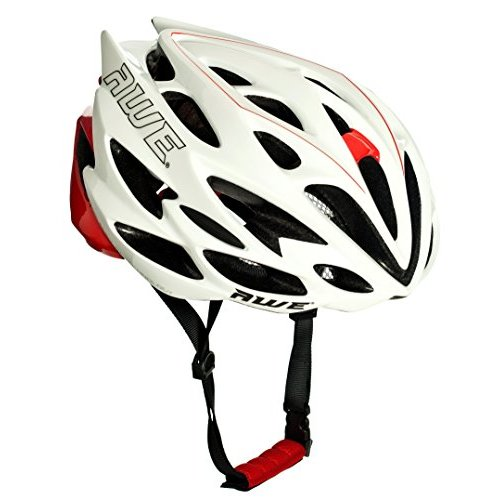 AWE AWESpeed FREE 5 YEAR CRASH REPLACEMENT* In Mould Adult Mens Road Racing Cycling Helmet 58-61cm White/Red (FREE Delivery)