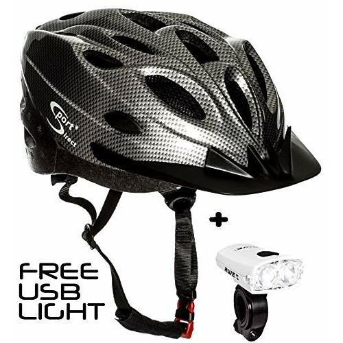 Sport Direct 18 Vent Graphite Bicycle Helmet & FREE USB FRONT LIGHT WORTH £19.99