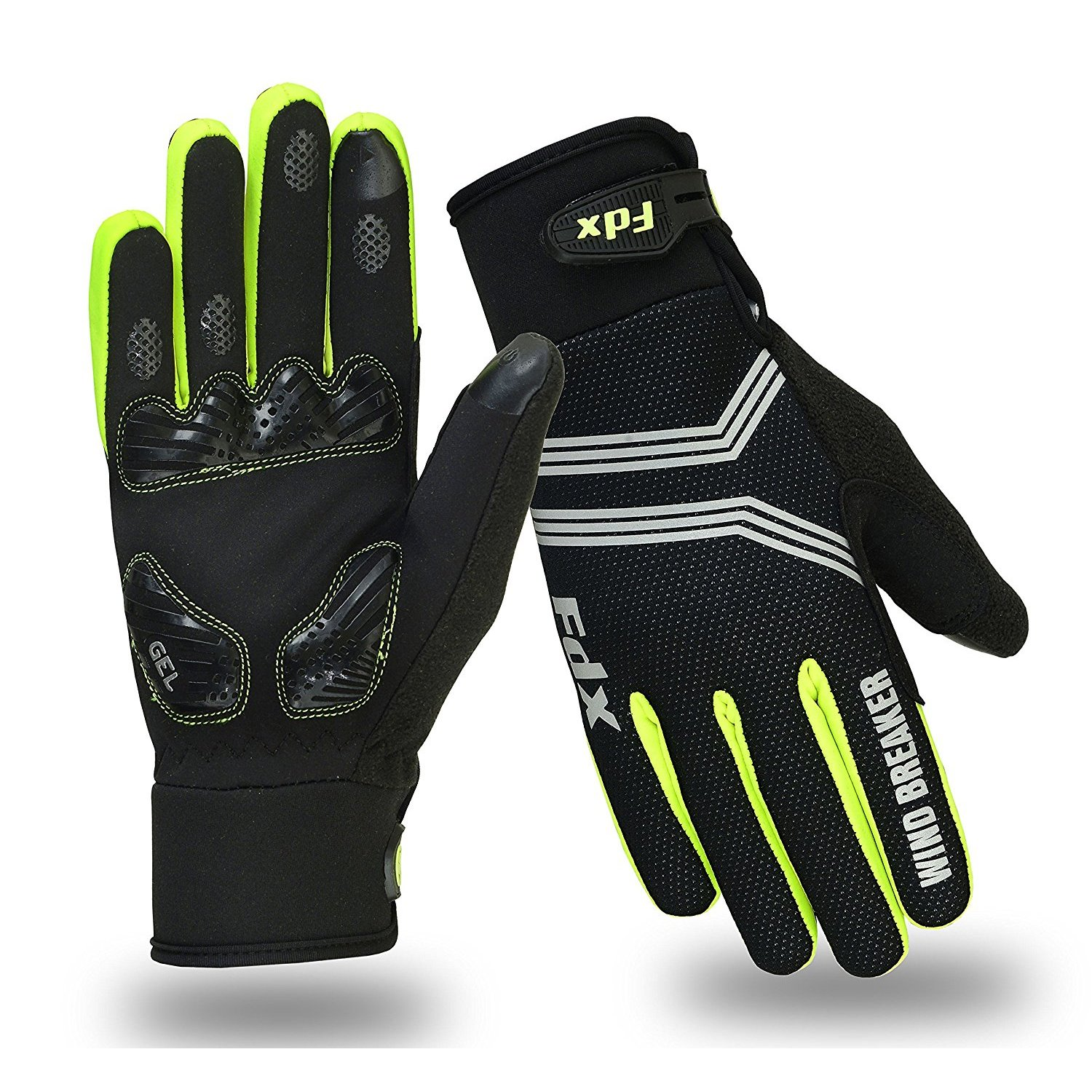 FDX Cycling Gloves Windproof Gel Padded Touchscreen Compatible - In 3 Colours
